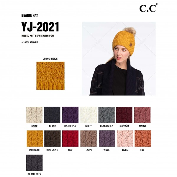 C.C YJ-2021 Twisted Knit Pom Beanie Featuring Faux Fur Inside Lining  - One size fits most  - 100% Acrylic