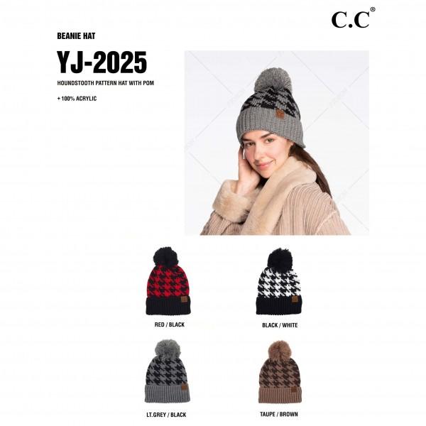 C.C YJ-2025 Houndstooth Knit Pattern Pom Beanie.  - One size fits most - 100% Acrylic