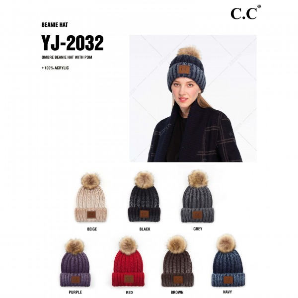 C.C YJ-2032 Ombre Cable Knit Pom Beanie.  - One size fits most  - 100% Acrylic