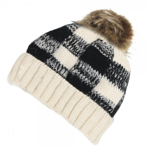 Buffalo Check Pom Beanie Featuring a Fleece Lined Inside.  - One size fits most - 100% Acrylic
