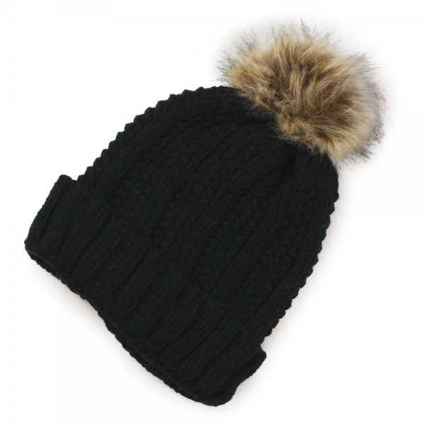 Ribbed Braided Knit Pom Beanie.  - One size fits most - 100% Polyester