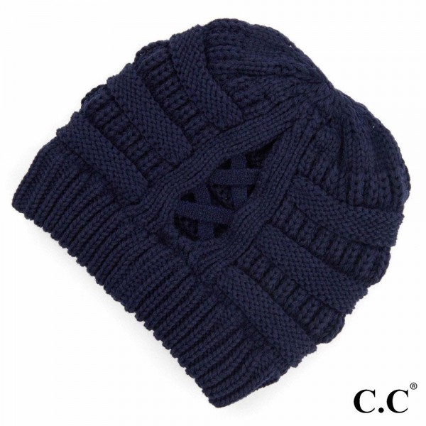 Wholesale c C CCB Ribbed Knit Beanie Criss Cross Ponytail Detail Multiple Ways W