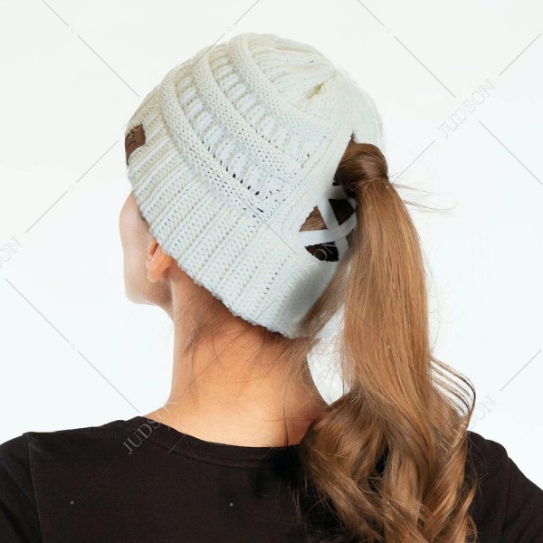 C.C CCB-1 Ribbed Knit Beanie Featuring Criss-Cross Ponytail Detail.  - Multiple Ways to Wear - Criss-Cross Ponytail Detail - One size fits most - 100% Acrylic