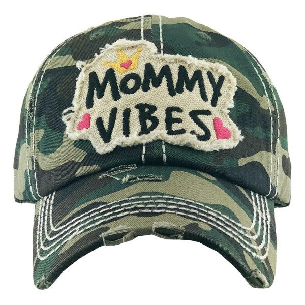 Vintage Distressed Mommy Vibes Embroidered Baseball Cap.  - One size fits most  - Adjustable Velcro Closure - 100% Cotton
