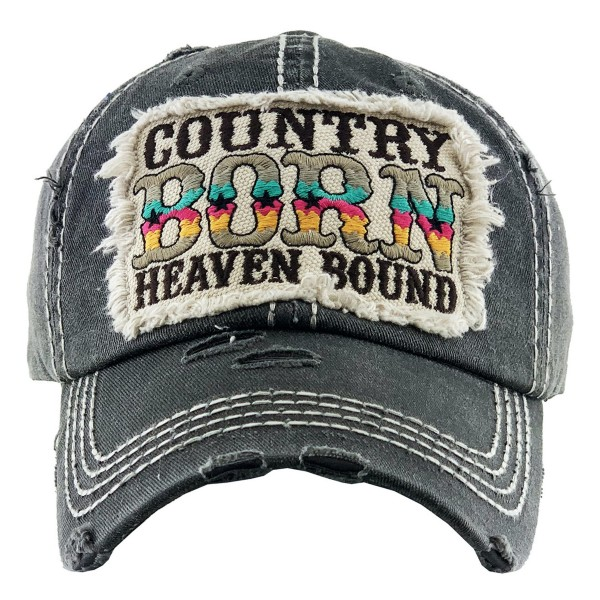 """Vintage Distressed """"Country Born, Heaven Bound"""" Baseball Cap.  - One size fits most - Adjustable Velcro Closure - 100% Cotton"""