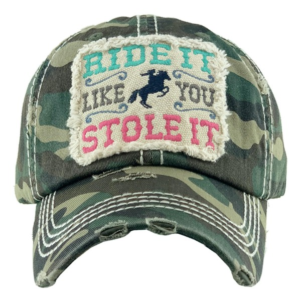 "Vintage Distressed ""Ride It Like You Stole It"" Baseball Cap.  - One size fits most  - Adjustable Velcro Closure - 100% Cotton"