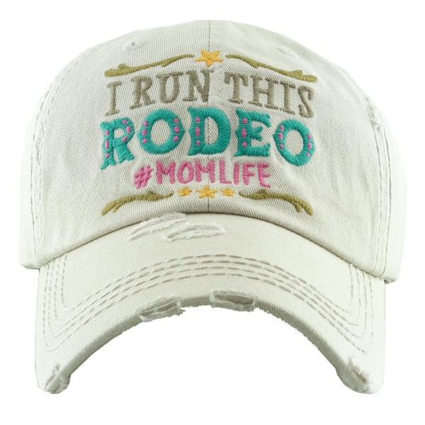 """Vintage Distressed """"I Run This Rodeo"""" #Momlife Baseball Cap.  - One size fits most - Adjustable Velcro Closure - 100% Cotton"""