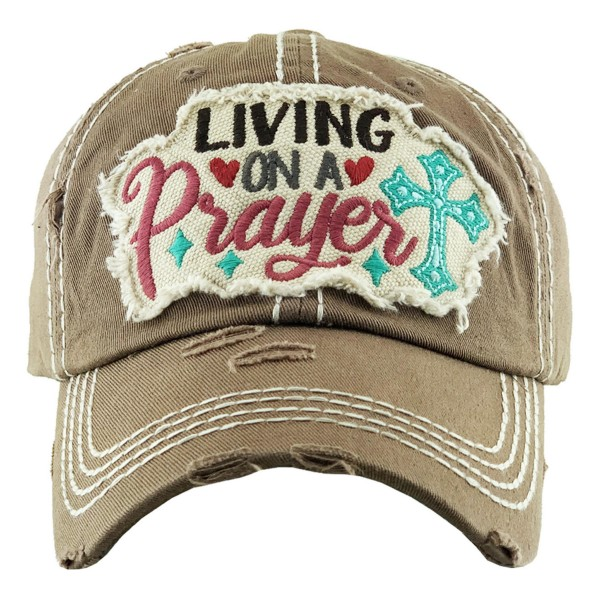 """Vintage Distressed """"Living on Prayer"""" Baseball Cap.  - One size fits most - Adjustable Velcro Closure - 100% Cotton"""