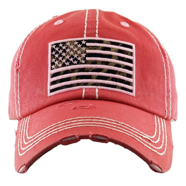 Vintage Distressed Leopard Print American Flag Embroidered Baseball Cap.  - One size fits most - Adjustable Velcro Closure - 100% Cotton