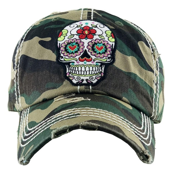 Vintage Distressed Sugar Skull Baseball Cap.  - One size fits most  - Adjustable Velcro Closure - 100% Cotton