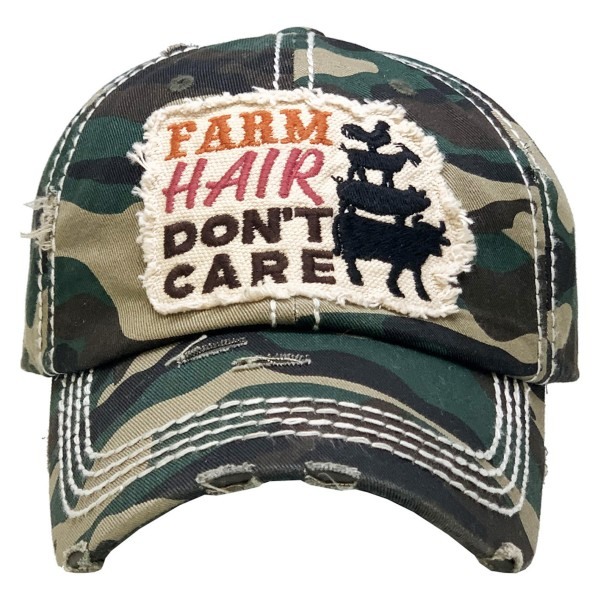 Vintage Distressed Farm Hair Don't Care Baseball Cap.  - One size fits most  - Adjustable Velcro Closure - 100% Cotton