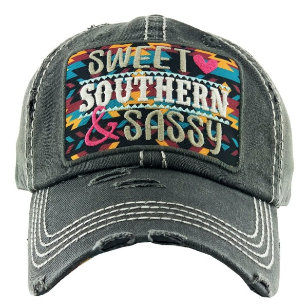 Vintage Distressed Sweet Southern Sassy Baseball Cap.  - One size fits most - Adjustable Velcro Closure - 100% Cotton