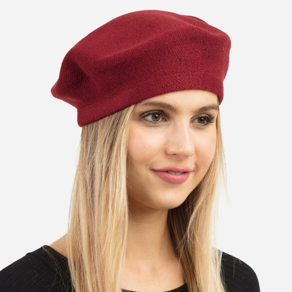 "Solid Knit Beret Cap.  - One size fits most - 20"" Head Circumference - 100% Acrylic"