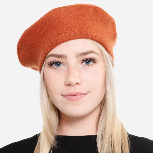 """Solid Knit Beret Cap.  - One size fits most - 20"""" Head Circumference - 100% Acrylic"""