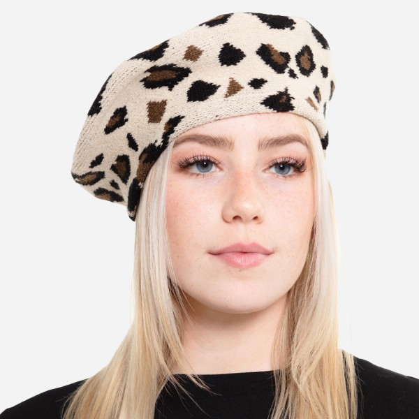"""Leopard Print Knit Beret Cap.  - One size fits most  - 20"""" Head Circumference - 100% Acrylic"""