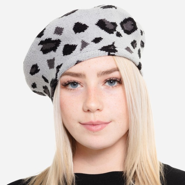 "Leopard Print Knit Beret Cap.  - One size fits most  - 20"" Head Circumference - 100% Acrylic"