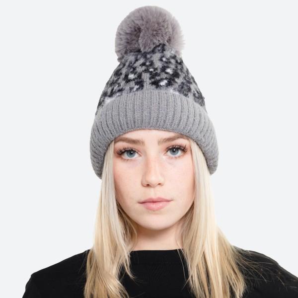 Wholesale fuzzy Knit Faux Fur Lined Leopard Print Pom Beanie One fits most Acryl