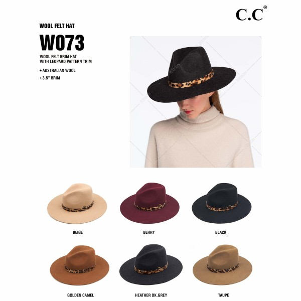 "C.C W073 Australian Wool Felt Wide Brim Hat Featuring Faux Fur Leopard Print Band. (6 PACK)  - One size fits most - Adjustable Inside Drawstring - Brim: 3.5""  - 100% Wool - 6 Hats Per Pack"