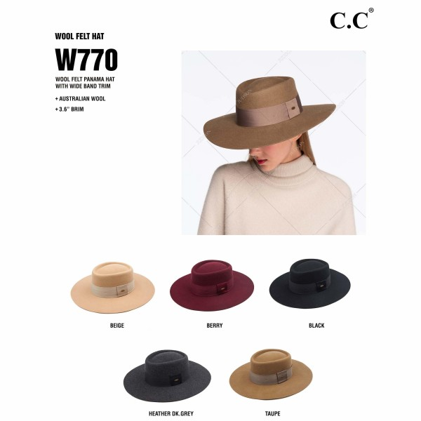 "C.C W770 Australian Wool Felt Wide Brim Hat Featuring Wide Ribbon Band. (6 PACK)  - One size fits most - Adjustable Inside Drawstring - Brim: 4""  - 100% Wool - 6 Hats Per Pack"