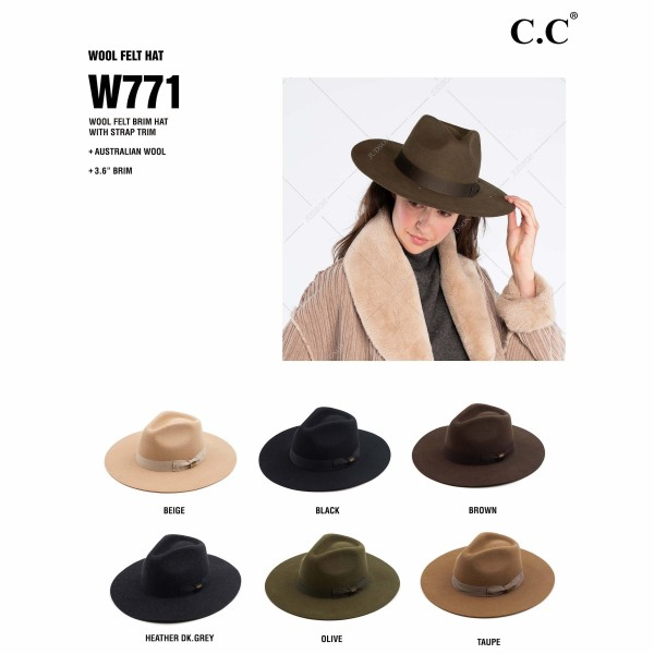 "C.C W771 Australian Wool Felt Wide Brim Hat Featuring Ribbon Band. (6 PACK)  - One size fits most - Adjustable Inside Drawstring  - Brim: 3.6"" - 100% Wool - 6 Hats Per Pack"
