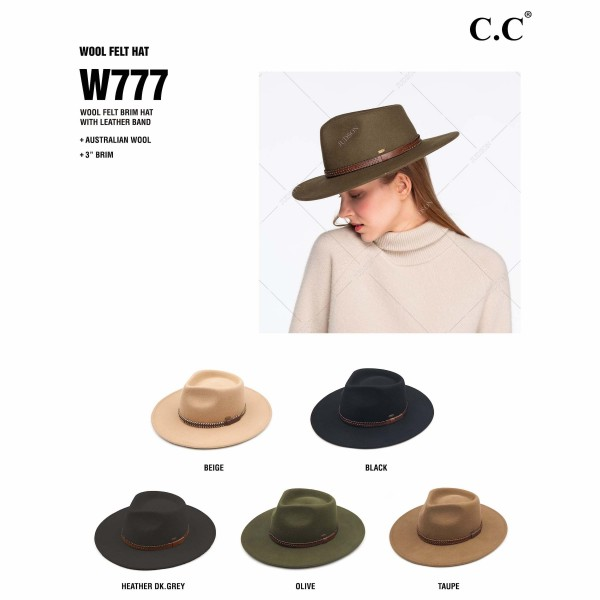 "C.C W777 Australian Wool Felt Panama Hat Featuring Leather Belt Band. (6 PACK)  - One size fits most - Adjustable Inside Drawstring - Brim: 3""  - 100% Wool - 6 Hats Per Pack"