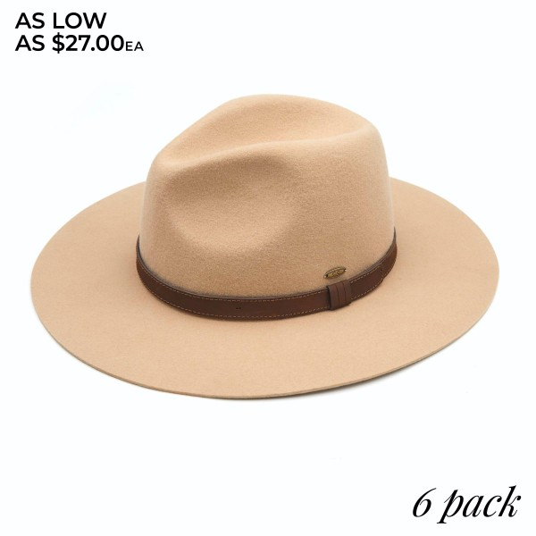 "C.C W778 Australian Wool Felt Panama Hat Featuring Leather Band. (6 PACK)  - One size fits most - Adjustable Inside Drawstring - Brim: 3""  - 100% Wool - 6 Hats Per Pack"