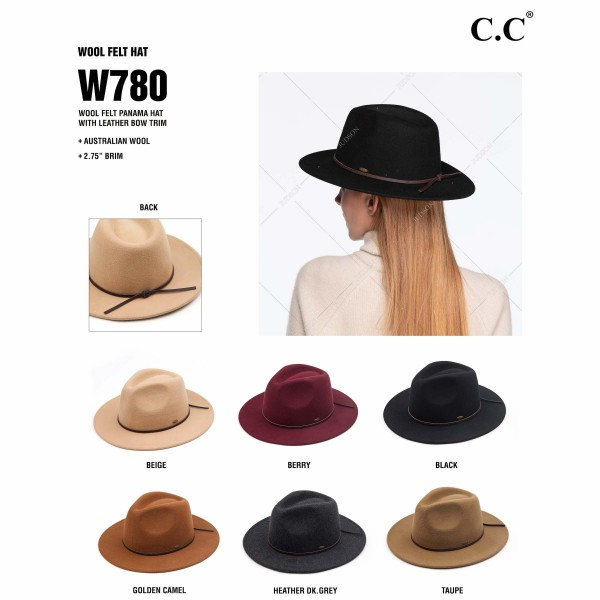 "C.C W780 Australian Wool Felt Panama Hat Featuring Leather Bow Trim.  - One size fits most - Adjustable Inside Drawstring  - Brim: 2.75""  - 100% Wool  - 6 Hats Per Pack"