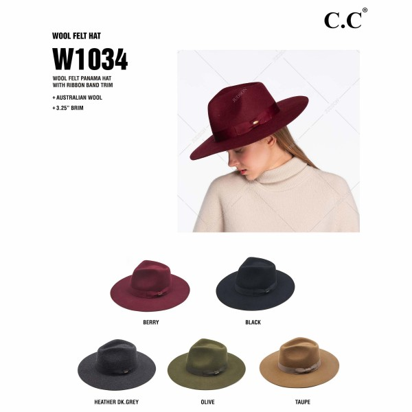 "C.C W1034 Australian Wool Felt Panama Hat Featuring Ribbon Band. (6 Pack)  - One size fits most - Adjustable Inside Drawstring - Brim Width: 3.25"" - 100% Wool - 6 Hats Per Pack"