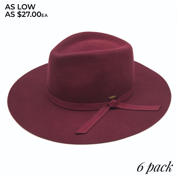 "C.C W1041 Australian Wool Felt Panama Hat Featuring Grosgrain Bow Trim. (6 PACK)  - One size fits most - Adjustable Inside Drawstring - Brim: 3.5""  - 100% Wool - 6 Hats Per Pack"