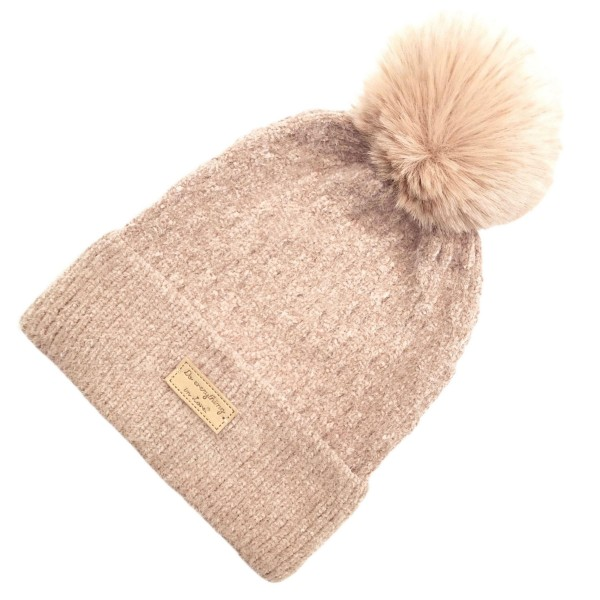 Do everything in Love Brand knitted beanie featuring a faux fur pom accent  - One size fits most - 100% Acrylic / Faux Fur