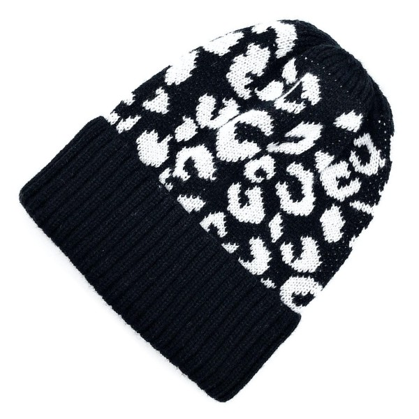 Wholesale do everything Love Brand Leopard Print Knit Beanie One fits most Acryl