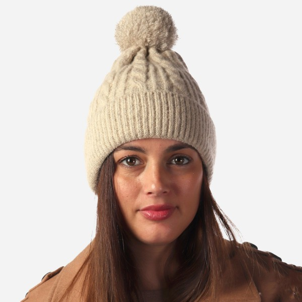Women's Fuzzy Cable Knit Pom Beanie.  - One size fits most - 100% Acrylic