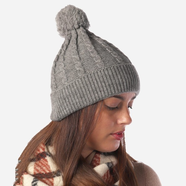 Women's Cable Knit Pom Beanie.  - One size fits most  - 100% Acrylic