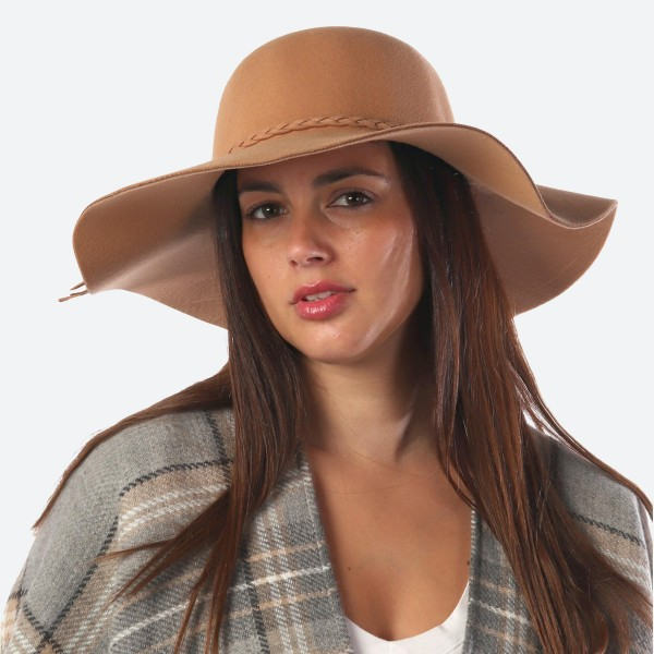 """Wide Brim Felt Floppy Hat Featuring Braided Band Detail.  - One size fits most  - Inside Adjustable Drawstring - Brim Width: 4.5""""  - Inner Head Circumference 14""""  - 100% Polyester"""