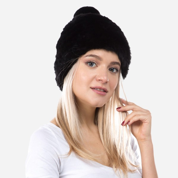 Faux Fur Pom Beanie.  - One size fits most - Elastic Mesh Knit - 93% Polyester / 7% Olefin