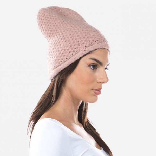 Crochet Knit Slouch Beanie.  - One size fits most - 75% Acrylic / 20% Nylon / 5% Elastane