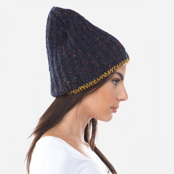 Thick Confetti Knit Beanie Featuring Whipstitch Trim.  - One size fits most  - 72% Polyester / 19% Acrylic / 9% Wool