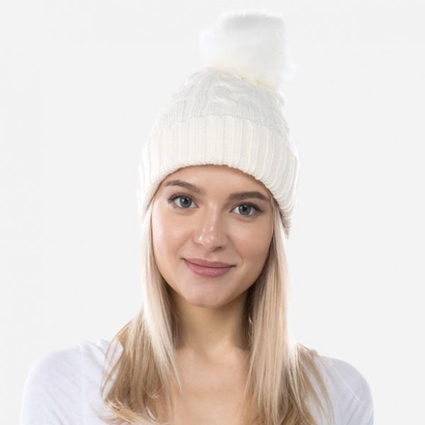 Wholesale cable Ribbed Knit Faux Fur Pom Beanie One fits most Viscose Polyester