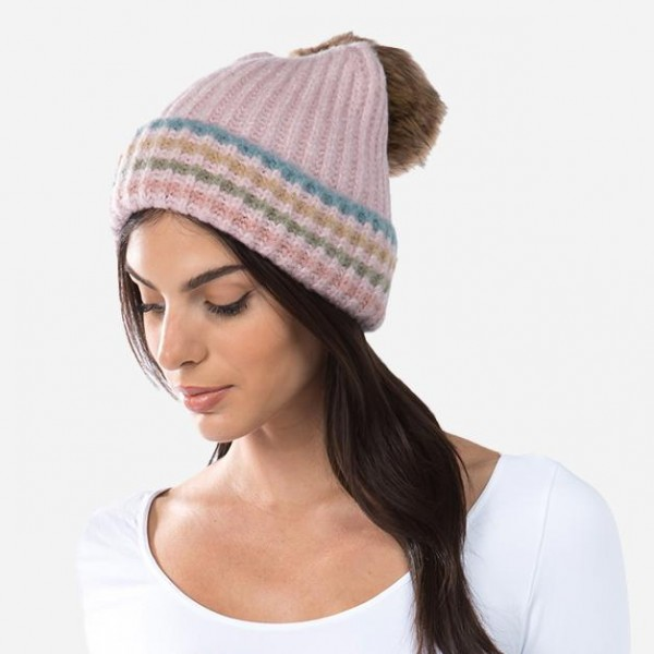 Boucle Knit Faux Fur Pom Beanie Featuring Strip Cuff Details.  - One size fits most - 75% Acrylic / 20% Nylon / 3% Spandex