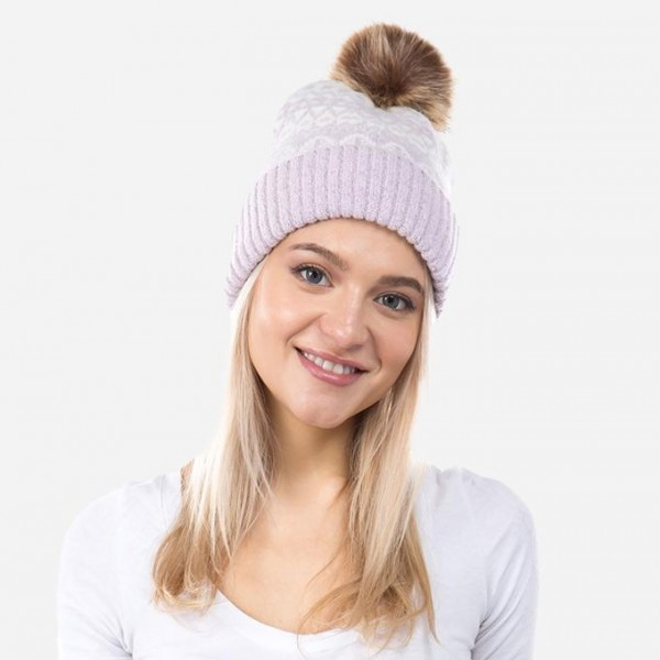 Thick Knit Winter Pom Beanie.  - One size fits most  - 52% Acrylic, 30% Nylon, 15% Polyester, 3% Spandex