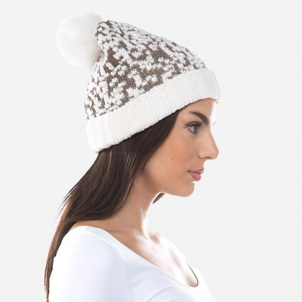 Metallic Chenille Popcorn Knit Faux Fur Pom Beanie.  - One size fits most  - 100% Polyester