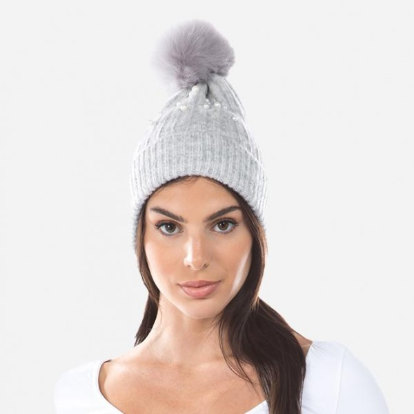 Boucle Ribbed Knit Faux Fur Pom Beanie Featuring Pearl & Rhinestone Accents.  - One size fits most - 75% Acrylic / 22% Nylon / 3% Spandex