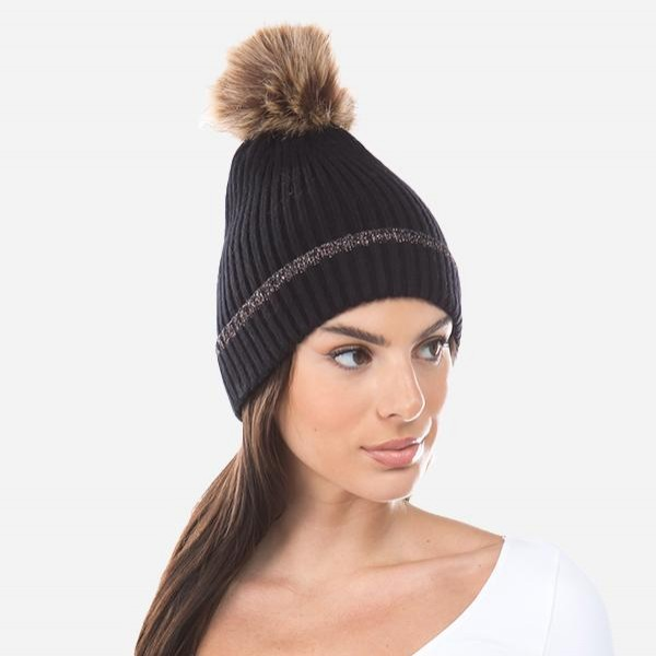 Ribbed Knit Pom Beanie Featuring Metallic Cuff Detail.  - One size fits most - 55% Viscose, 31% Polyester, 14% Polyamide