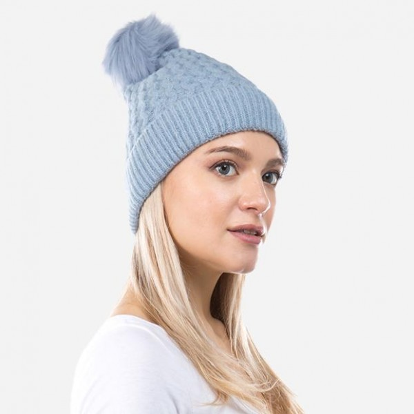 Chunky Knit Faux Fur Pom Beanie.  - One size fits most - 75% Acrylic / 22% Nylon / 3% Spandex