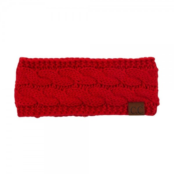 C.C BHW-1 Fuzzy Lined Cable Knit Headwrap Featuring Epoxy Buttons For Securing Face Mask.  - Style with Face Mask C.C MASK-18 - Mask NOT Included*** - One size fits most - 100% Acrylic