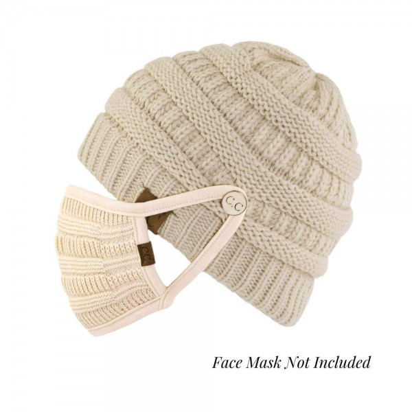 C.C BHT-1 Ribbed Knit Beanie Featuring C.C Epoxy Button For Securing Face Mask.   - Style with Matching Face Mask C.C MASK-18 - Matching Mask NOT Included*** - One size fits most - 100% Acrylic