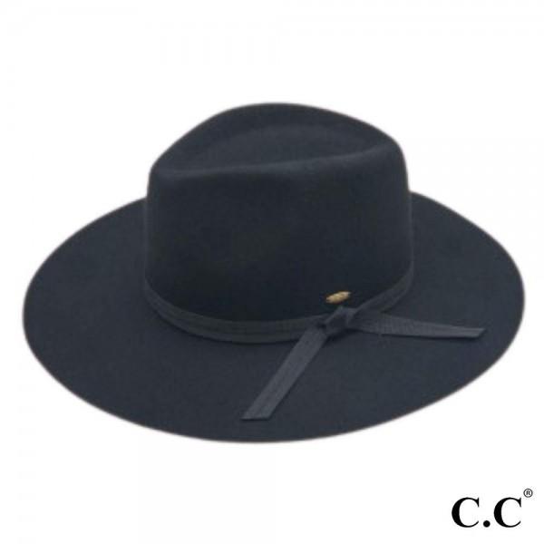 "C.C W1041 Australian Wool Felt Panama Hat Featuring Grosgrain Bow Trim.  - One size fits most - Adjustable Inside Drawstring - Brim: 3.5"" - 100% Wool"