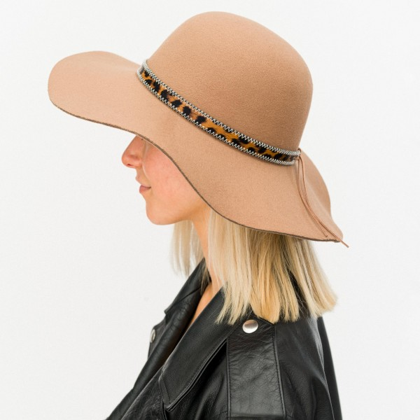 """Wide Brim Felt Floppy Hat Featuring Faux Leather Leopard Print Band.  - One size fits most - Adjustable Inside Drawstring - Brim Width: 4"""" - 100% Polyester"""