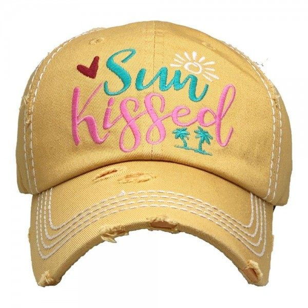 Sun Kissed Vintage Distressed Baseball Cap.  - One size fits most  - Adjustable Velcro Closure - 100% Cotton