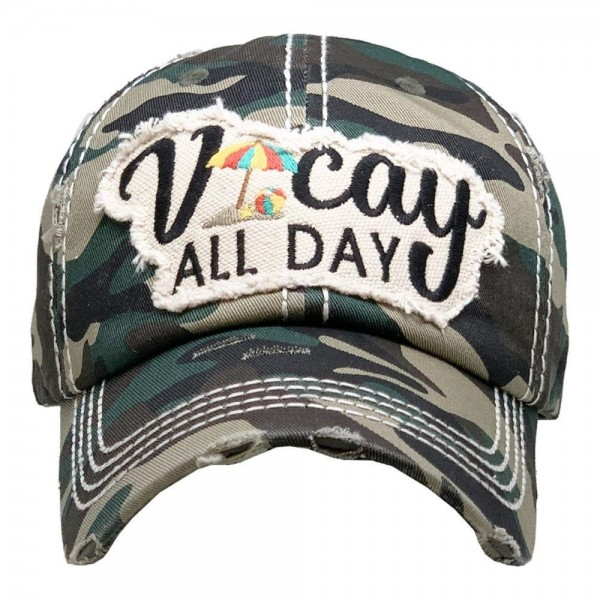 Vacay All Day Vintage Distressed Baseball Cap.  - One size fits most  - Adjustable Velcro Closure - 100% Cotton